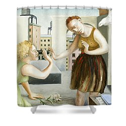 Rooftop Annunciation One Shower Curtain by Caroline Jennings