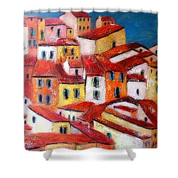 Rooftops Collioure Shower Curtain