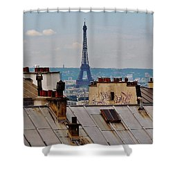Rooftops Of Paris And Eiffel Tower Shower Curtain by Marilyn Dunlap