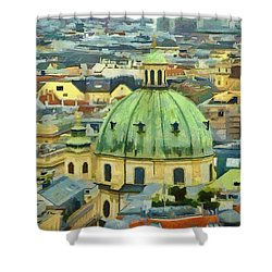 Rooftops Of Vienna Shower Curtain by Jeffrey Kolker