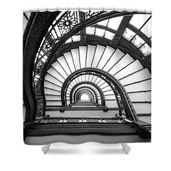 Rookery Building Oriel Staircase - Black And White Shower Curtain