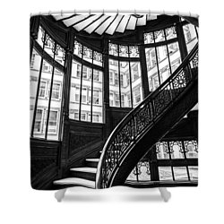 Rookery Building Winding Staircase And Windows - Black And White Shower Curtain