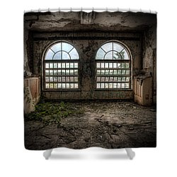 Room With Two Arched Windows Shower Curtain by Gary Heller