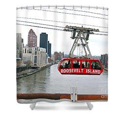 Roosevelt Island Tram Shower Curtain by Ed Weidman