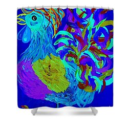 Rooster Blues Shower Curtain by Eloise Schneider