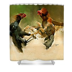 Rooster Fight Hd Shower Curtain