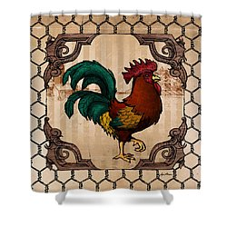 Rooster I Shower Curtain by April Moen