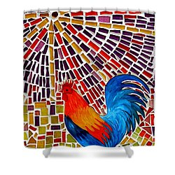 Rooster Mosaic Shower Curtain by Caroline Street