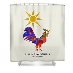 Rooster Pattern Art Shower Curtain by Christina Rollo