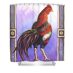 Rooster Prince Shower Curtain by Linda Mears