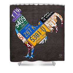 Rooster Recycled License Plate Art On Gray Wood Shower Curtain by Design Turnpike