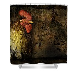 Shower Curtain featuring the mixed media Rooster With Brush Calligraphy Loyalty by Peter v Quenter