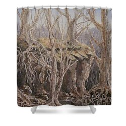 Shower Curtain featuring the painting Roots by Megan Walsh