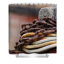 Shower Curtain featuring the photograph Rope And Chain by Wendy Wilton