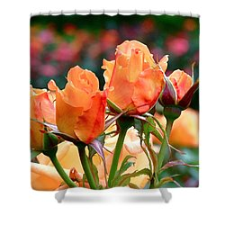 Rose Bunch Shower Curtain by Rona Black