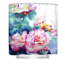 Shower Curtain featuring the painting Pink Rose Bush by Greta Corens