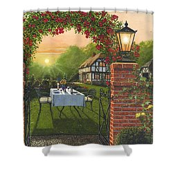 Rose Cottage - Dinner For Two Shower Curtain by Richard Harpum