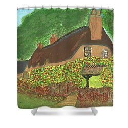 Shower Curtain featuring the painting Rose Cottage by Tracey Williams