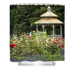 Shower Curtain featuring the photograph Rose Garden Gazebo by Sonya Lang