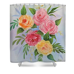 Rose Gathering Shower Curtain by Jimmie Bartlett