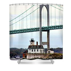 Rose Island Lighthouse Shower Curtain
