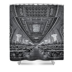 Rose Main Reading Room At The Nypl Bw Shower Curtain by Susan Candelario