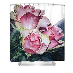 Pink Rose Michelangelo Shower Curtain by Greta Corens