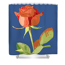 Rose On Blue Shower Curtain by Mauro Celotti