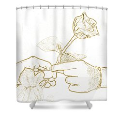 Rose Outline By Jan Marvin Studios Shower Curtain