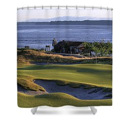 Shower Curtain featuring the photograph Hole 17 Hdr by Chris Anderson