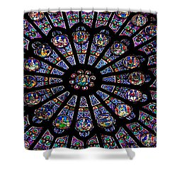 Rose Window .famous Stained Glass Window Inside Notre Dame Cathedral. Paris Shower Curtain