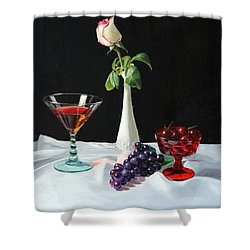 Rose Wine And Fruit Shower Curtain