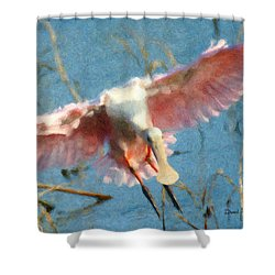 Da203 Roseate Spoonbill By Daniel Adams Shower Curtain