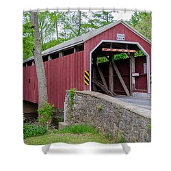 Rosehill Covered Bridge Shower Curtain by Guy Whiteley