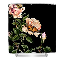 Roses And Butterflies Shower Curtain
