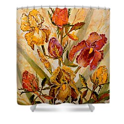 Roses And Irises Shower Curtain by Lou Ann Bagnall