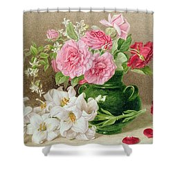 Roses And Lilies Shower Curtain by Mary Elizabeth Duffield