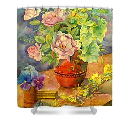 Roses And Pansies Shower Curtain by Julia Rowntree