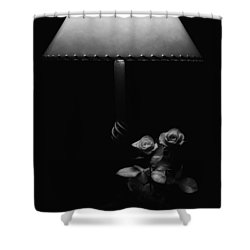 Shower Curtain featuring the photograph Roses By Lamplight Bw by Ron White
