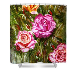Shower Curtain featuring the painting Roses by Harsh Malik