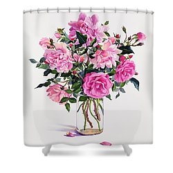 Roses In A Glass Jar  Shower Curtain