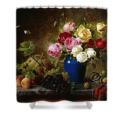Roses In A Vase Peaches Nuts And A Melon On A Marbled Ledge Shower Curtain