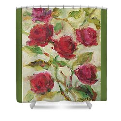 Shower Curtain featuring the painting Roses by Mary Wolf