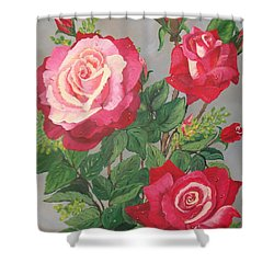 Shower Curtain featuring the painting Roses N' Rain by Sharon Duguay