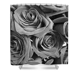 Shower Curtain featuring the photograph Roses On Your Wall Black And White  by Joseph Baril