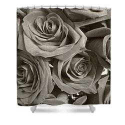Shower Curtain featuring the photograph Roses On Your Wall Sepia by Joseph Baril