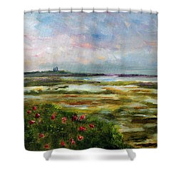 Shower Curtain featuring the painting Roses Over The Marsh by Michael Helfen
