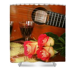 Shower Curtain featuring the photograph Guitar 'n Roses by The Art of Alice Terrill