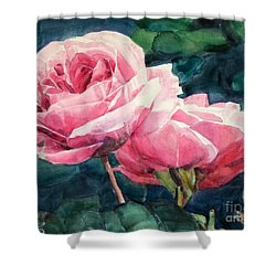Pink Roses Wildebras Shower Curtain by Greta Corens