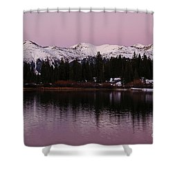 Rosey Lake Reflections Shower Curtain
